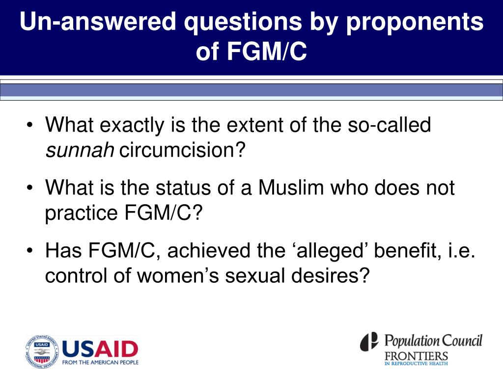 Un-answered questions by proponents of FGM/C
