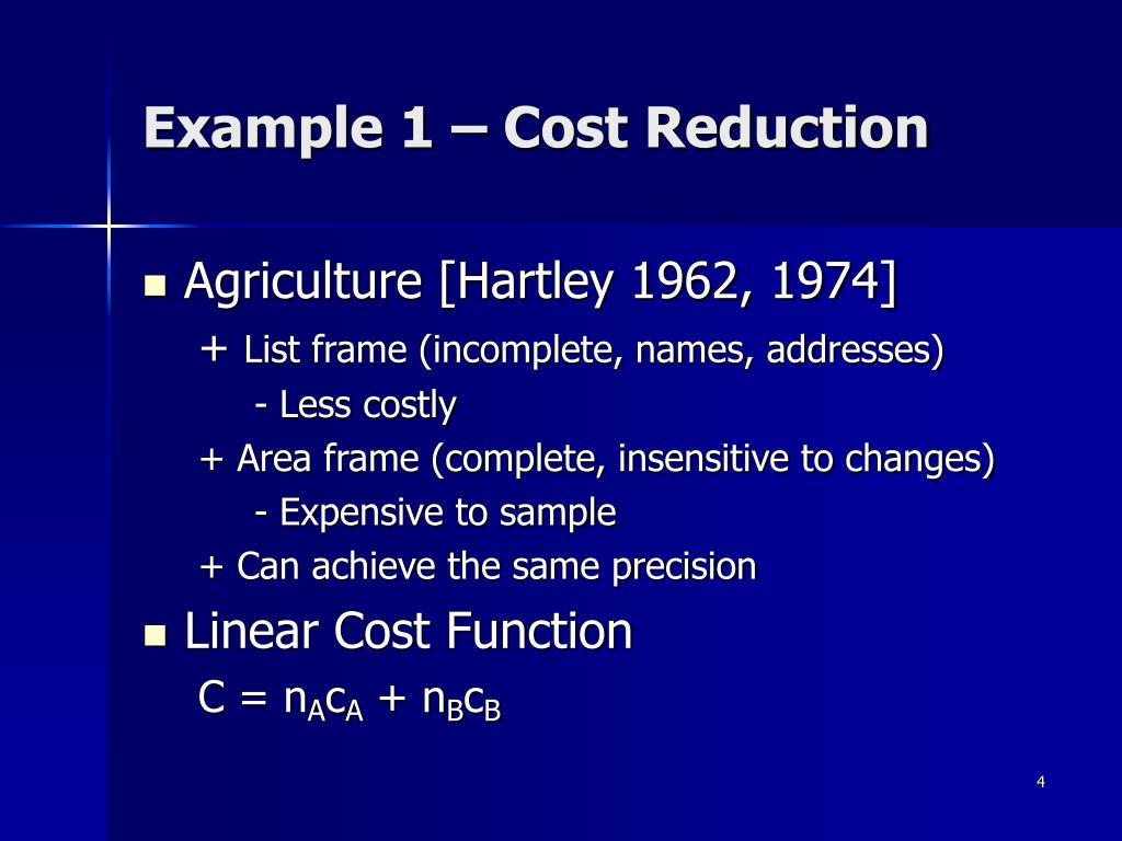 Example 1 – Cost Reduction