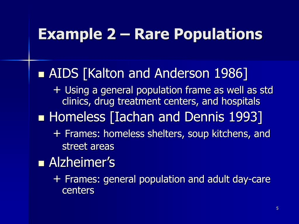Example 2 – Rare Populations