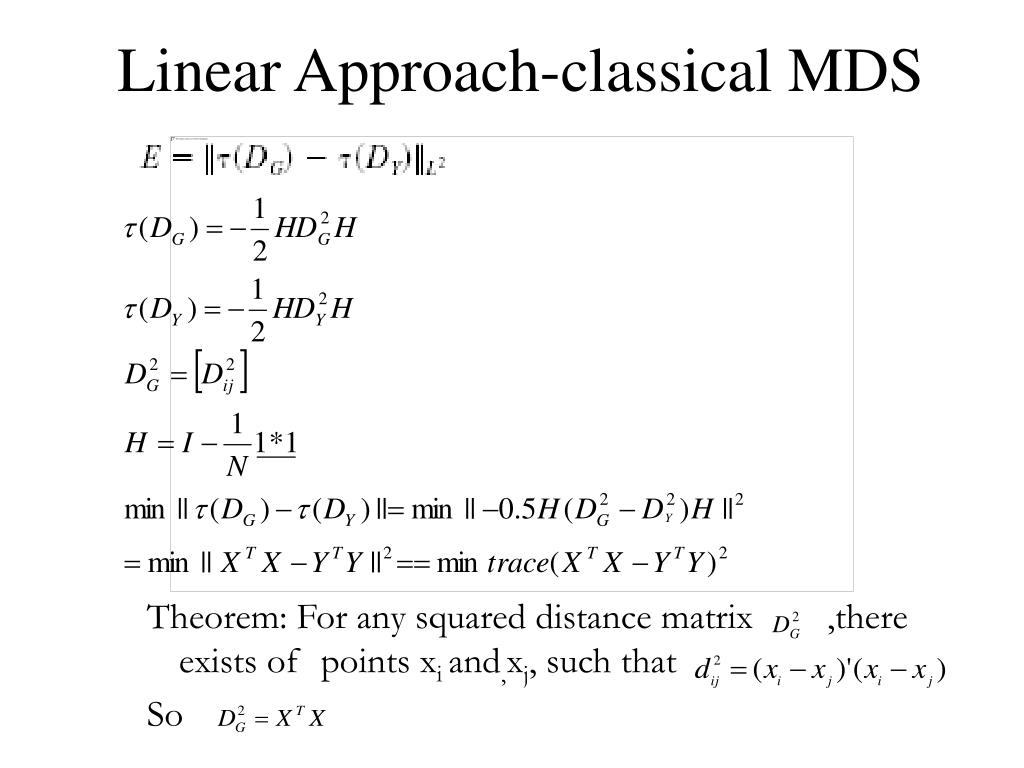 Linear Approach-classical MDS