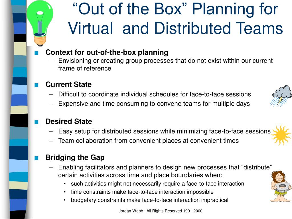 """""""Out of the Box"""" Planning for Virtual  and Distributed Teams"""