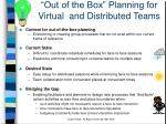 out of the box planning for virtual and distributed teams