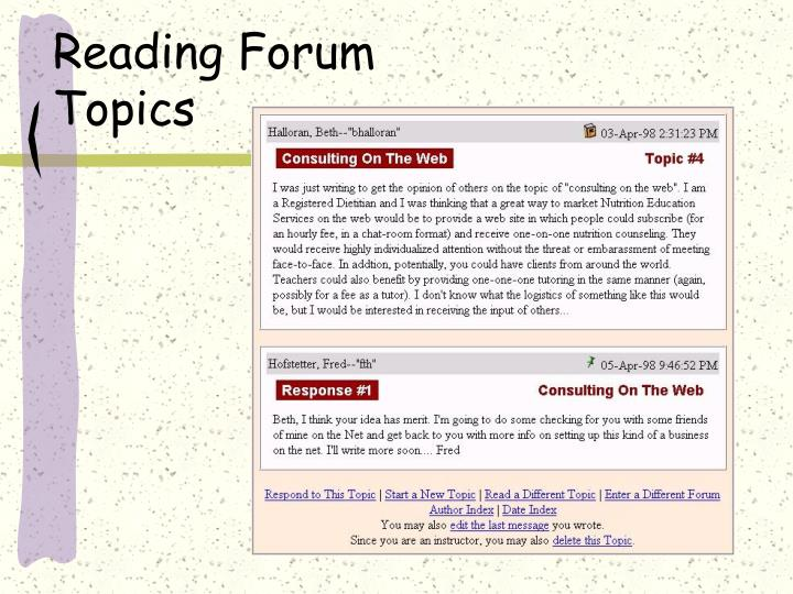 Reading Forum