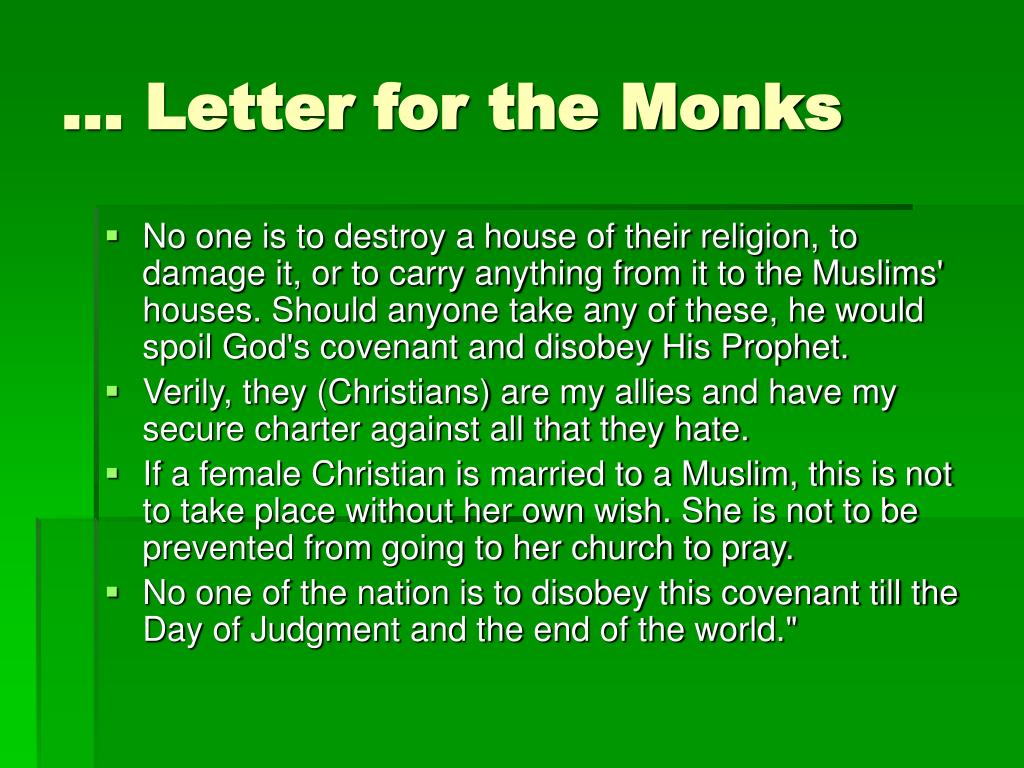 … Letter for the Monks