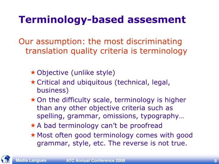 Terminology-based assesment