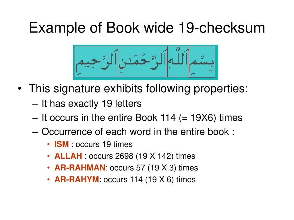 Example of Book wide 19-checksum