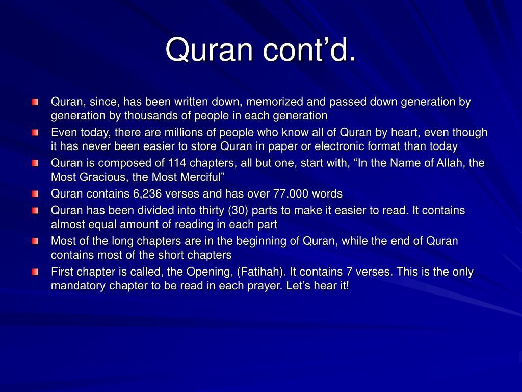 Quran cont'd.