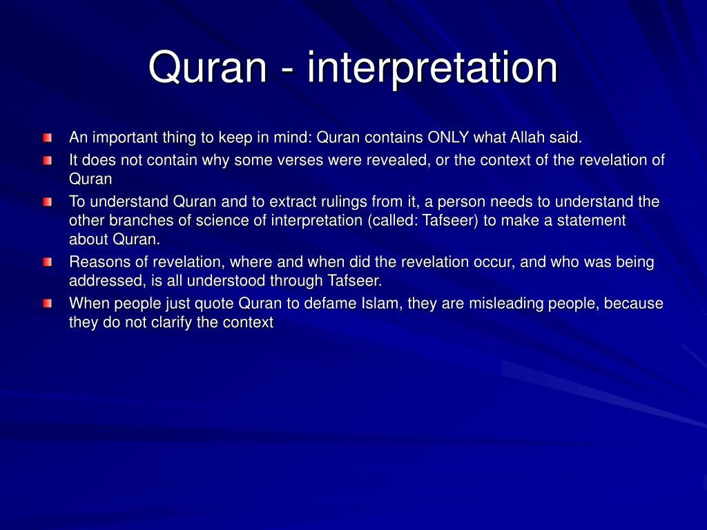 Quran - interpretation