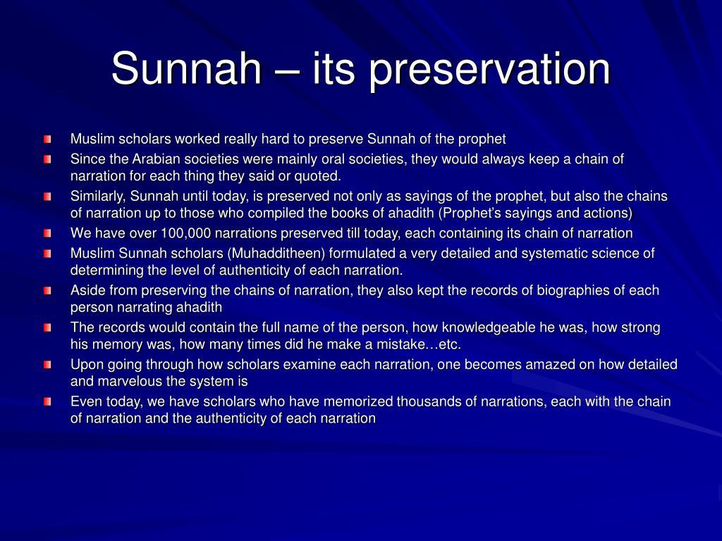 Sunnah – its preservation