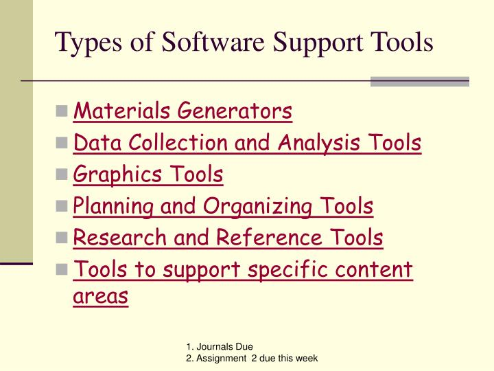Types of software support tools
