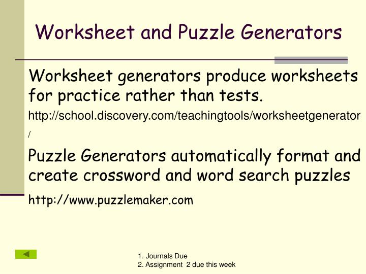 Worksheet and Puzzle Generators