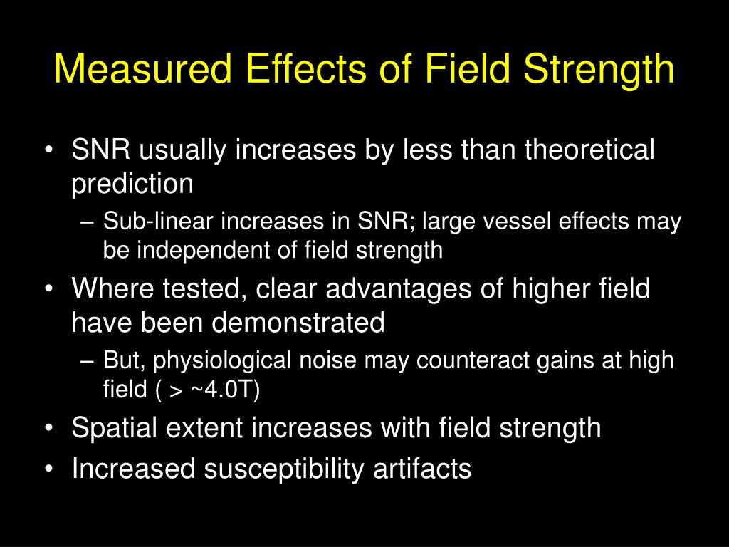 Measured Effects of Field Strength