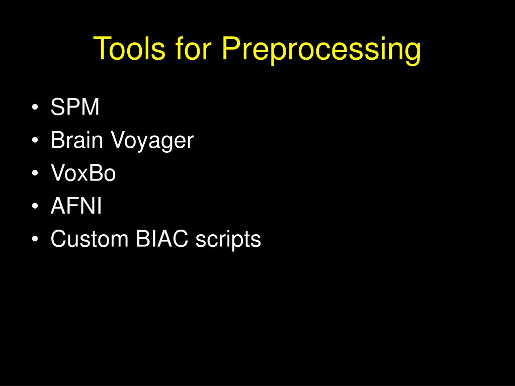 Tools for Preprocessing
