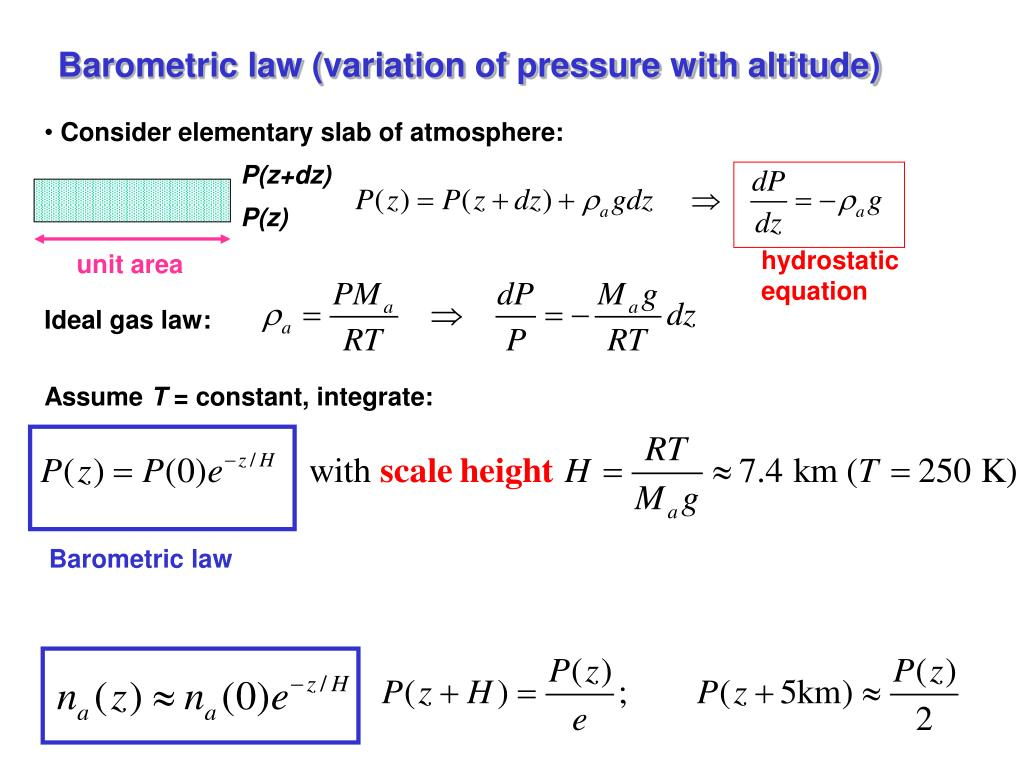 Barometric law (variation of pressure with altitude)