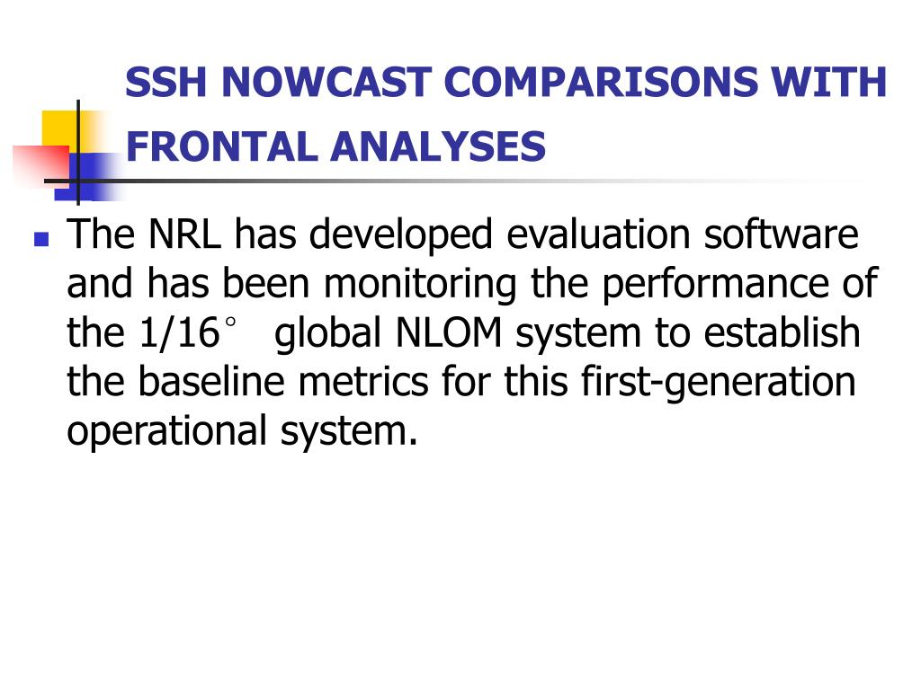 SSH NOWCAST COMPARISONS WITH FRONTAL ANALYSES