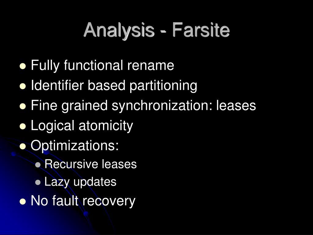 Analysis - Farsite