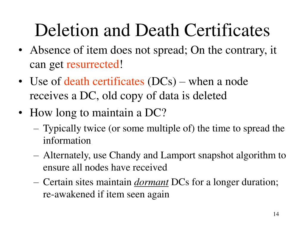 Deletion and Death Certificates