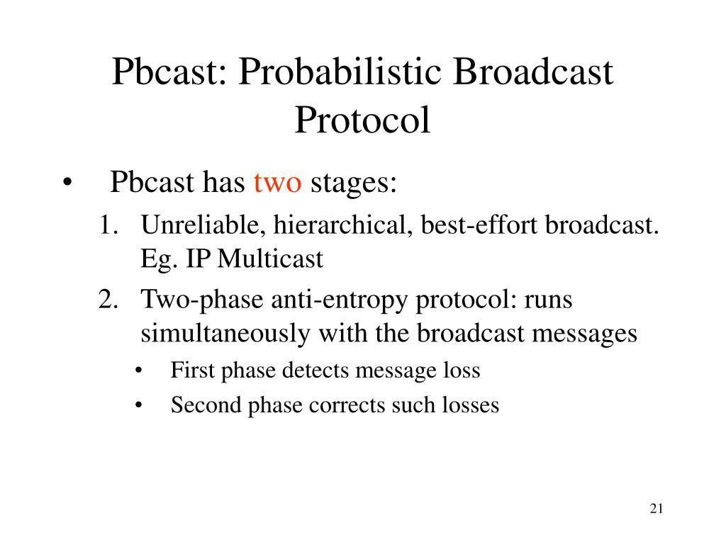 Pbcast: Probabilistic Broadcast Protocol