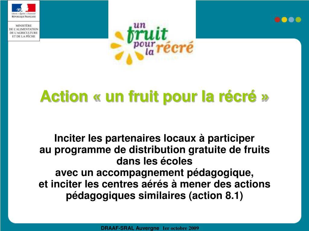 Action «un fruit pour la récré»