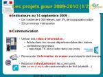 les projets pour 2009 2010 1 2