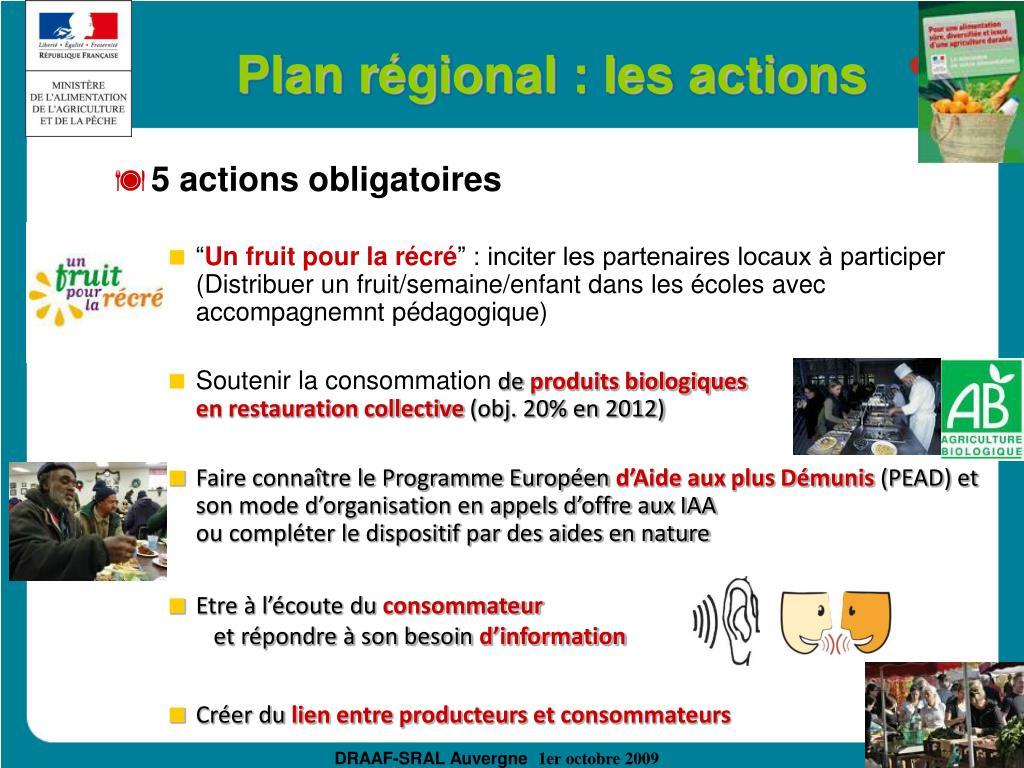 Plan régional : les actions