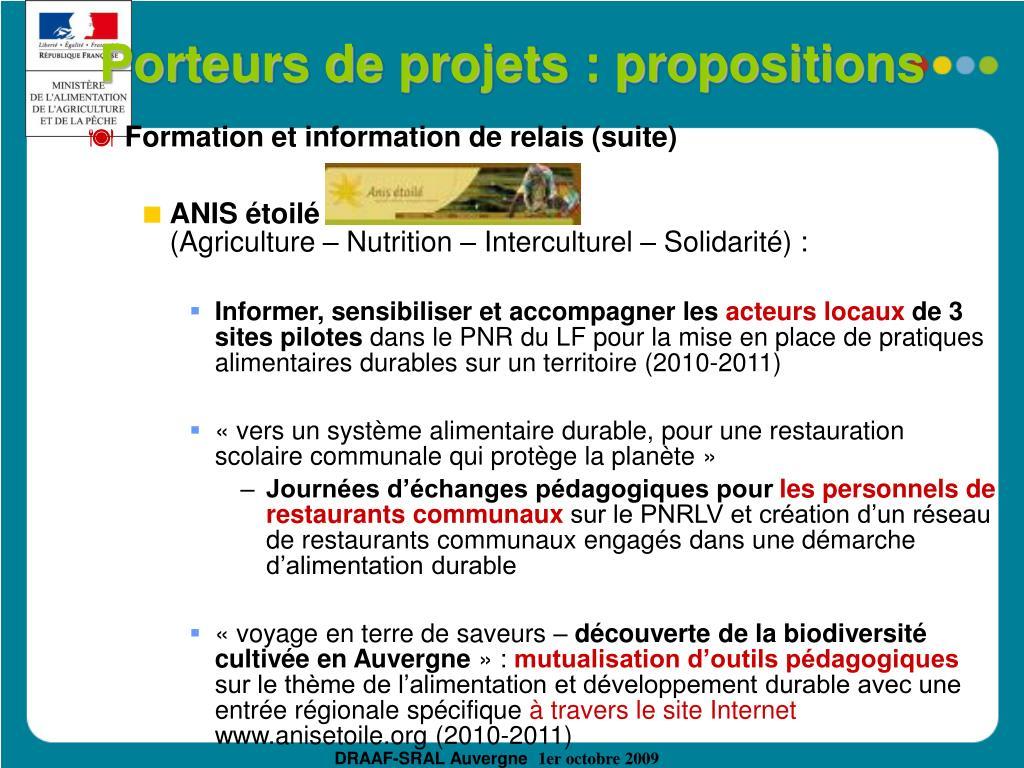 Porteurs de projets : propositions