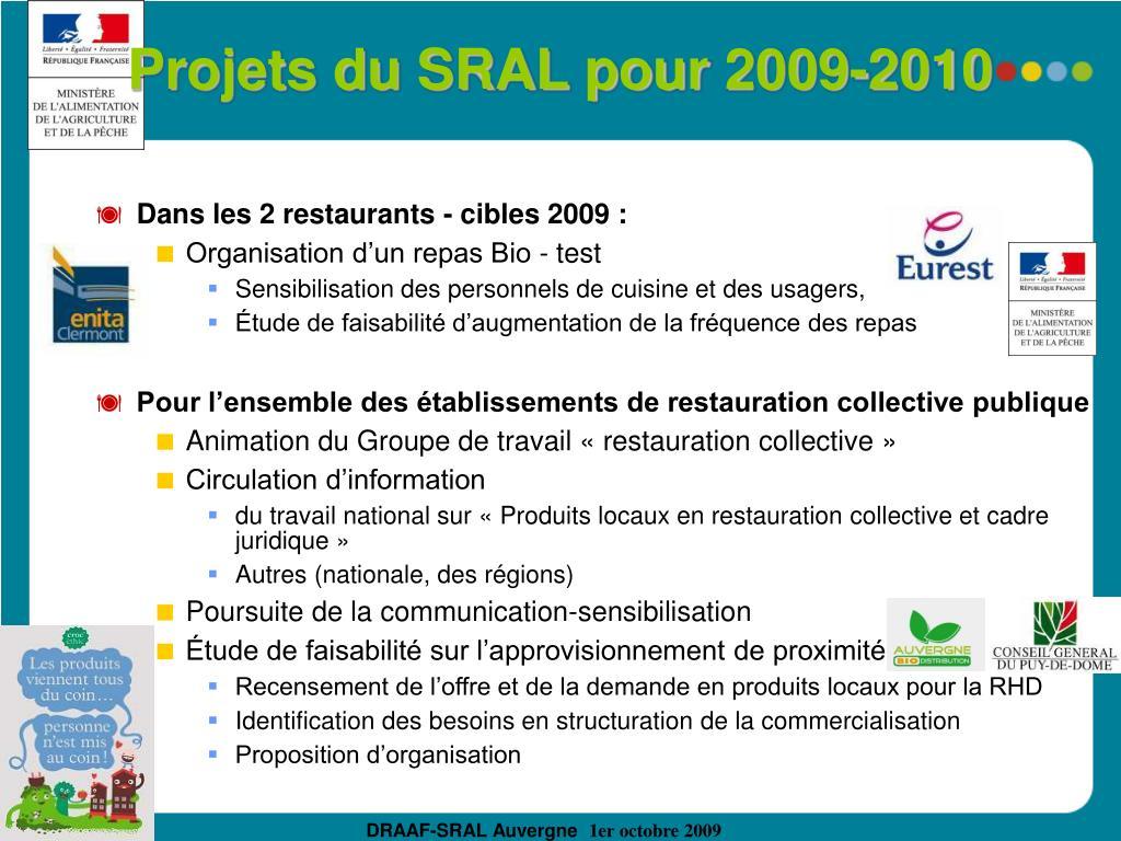 Projets du SRAL pour 2009-2010