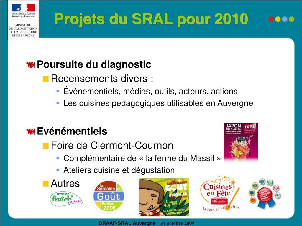 Projets du SRAL pour 2010