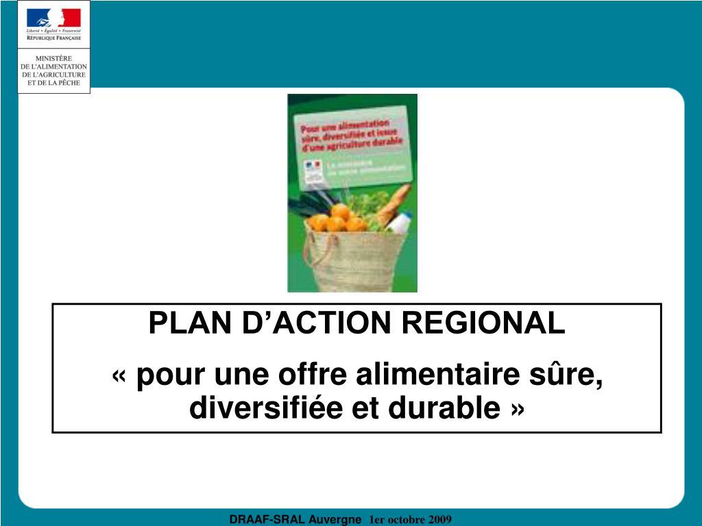 PLAN D'ACTION REGIONAL