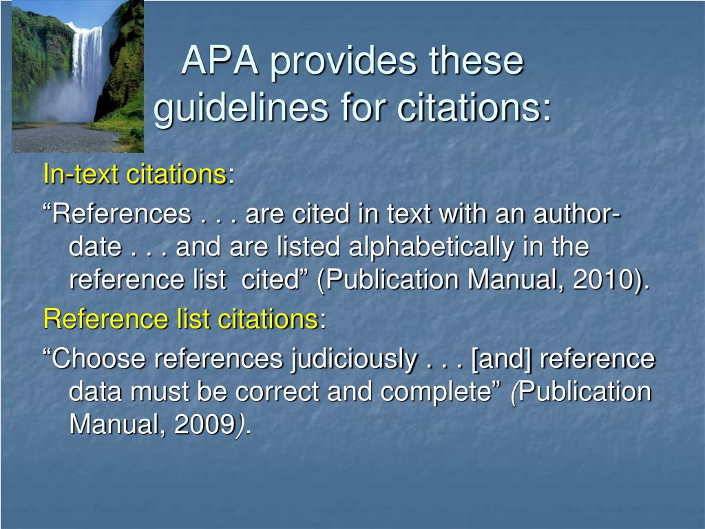 APA provides these