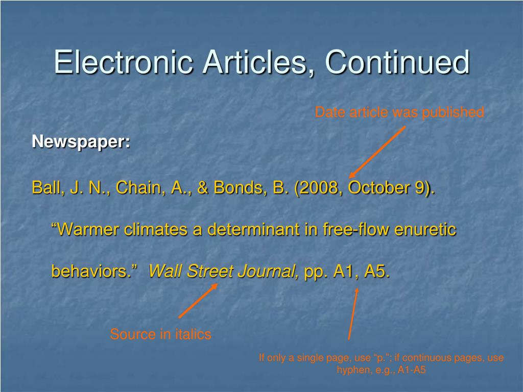 Electronic Articles, Continued