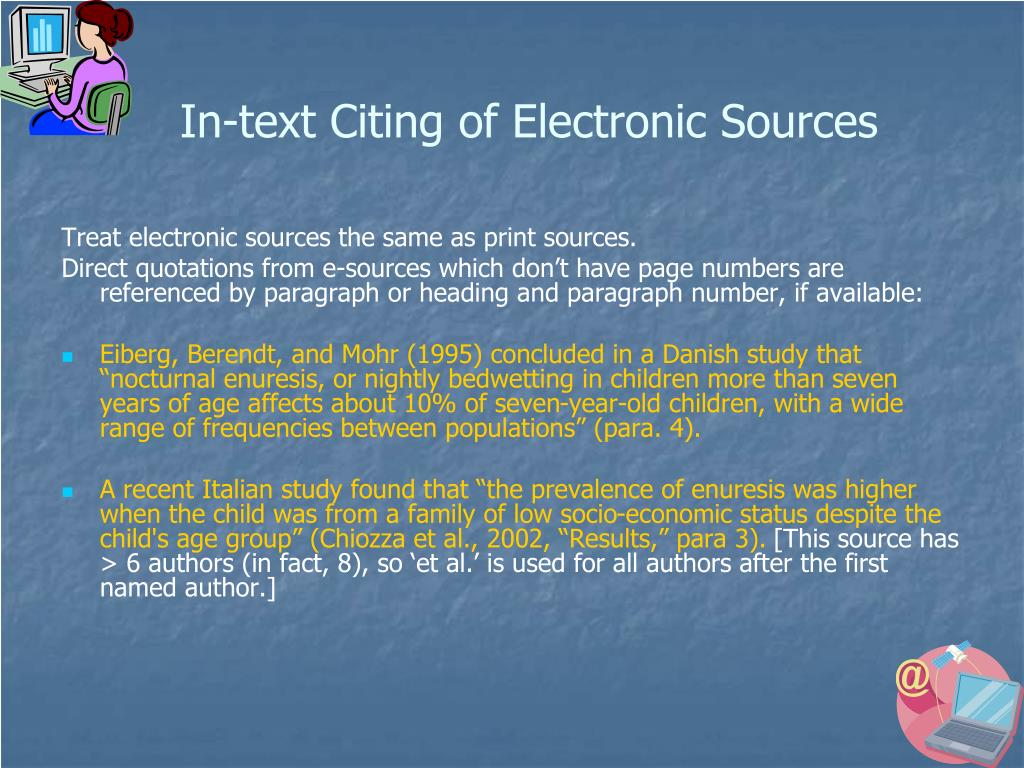 In-text Citing of Electronic Sources