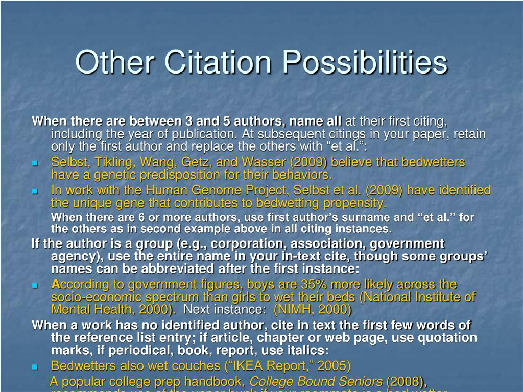 Other Citation Possibilities