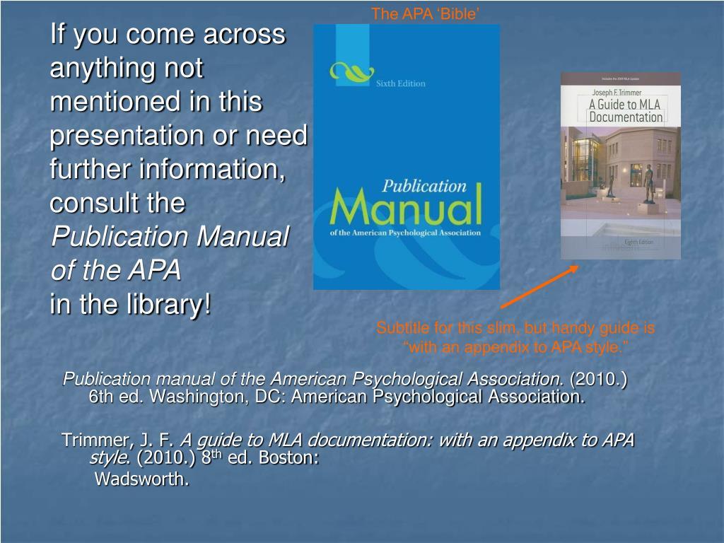 The APA 'Bible'