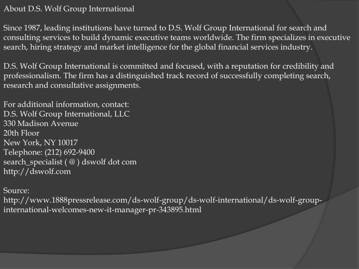 About D.S. Wolf Group International
