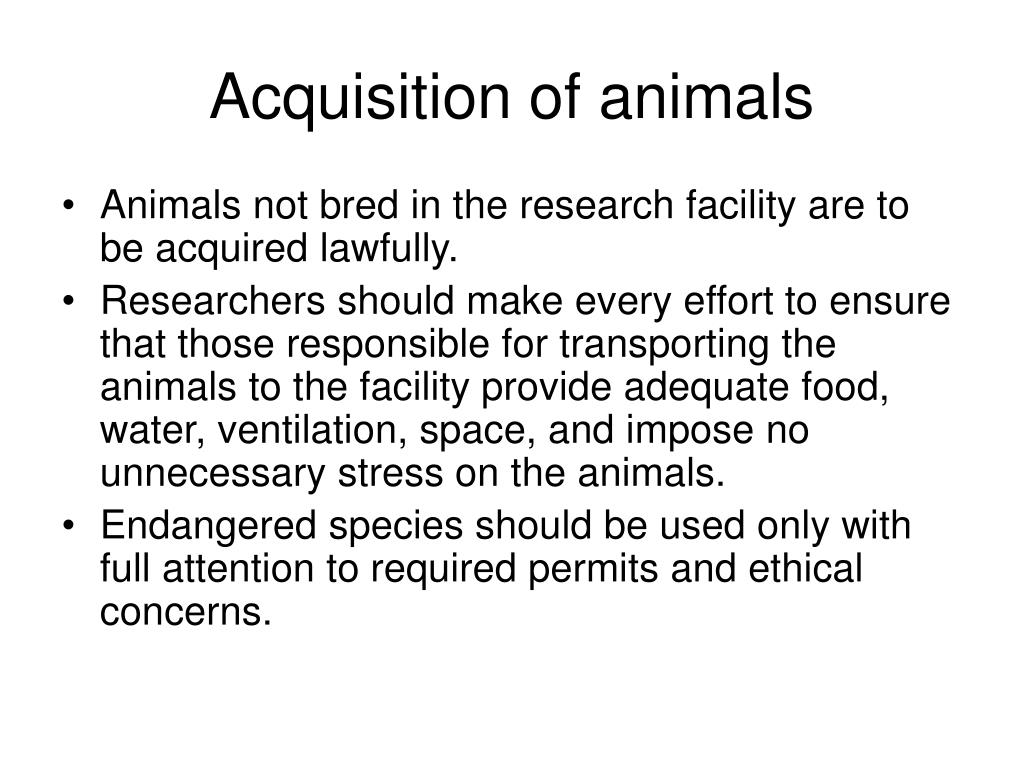 Acquisition of animals