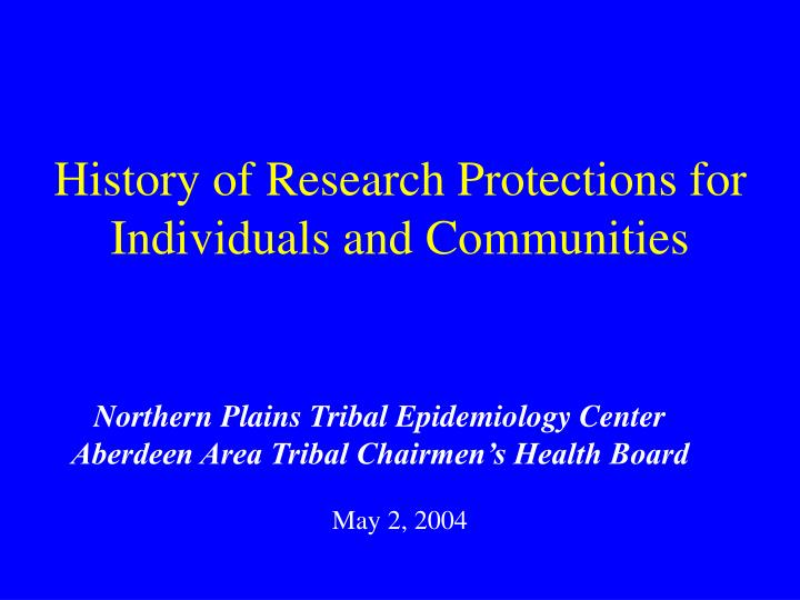 History of research protections for individuals and communities