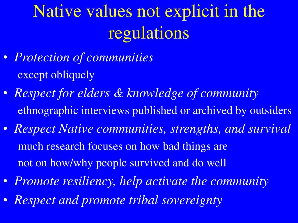 Native values not explicit in the regulations