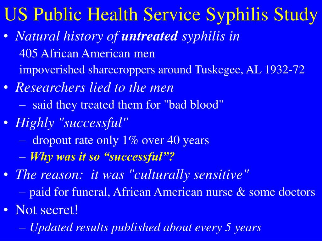 syphilis ethics in research Start studying ch 2 - research process & ethical issues in research learn vocabulary, terms, and more with flashcards, games, and other study tools.