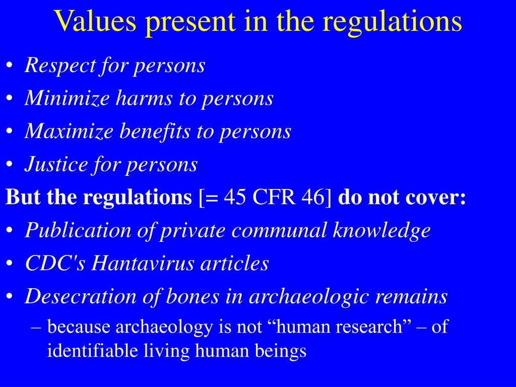 Values present in the regulations