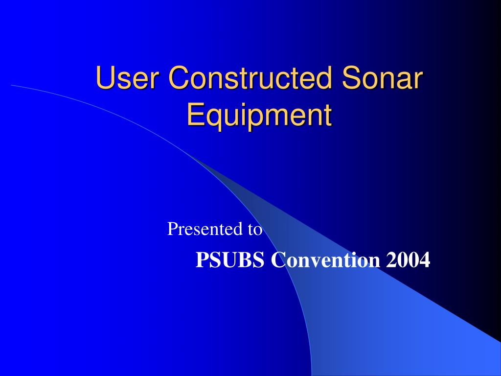 user constructed sonar equipment