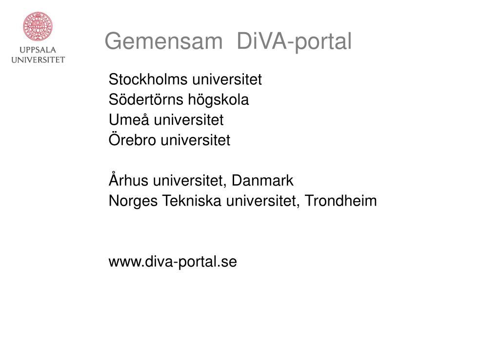Gemensam  DiVA-portal