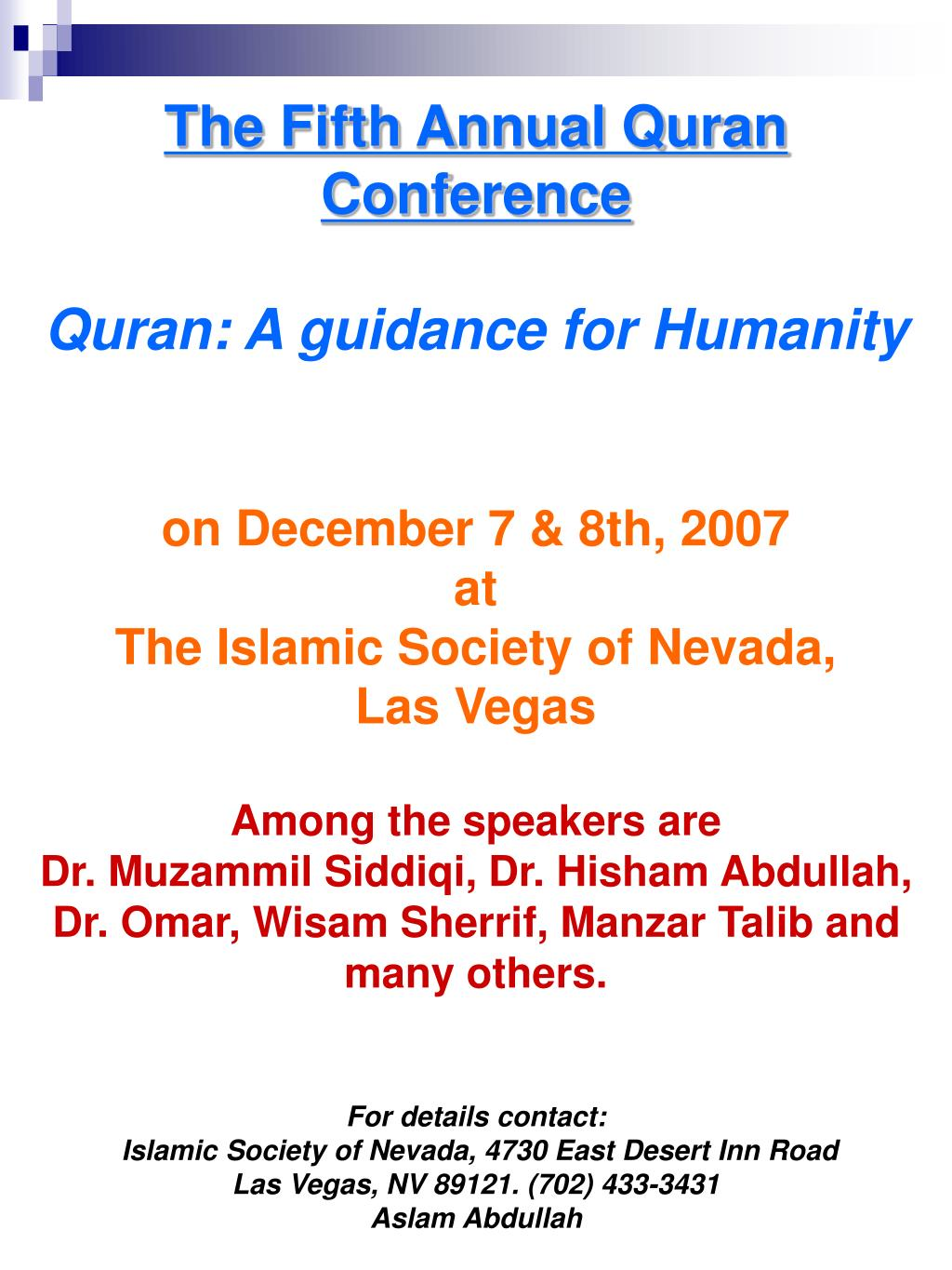 The Fifth Annual Quran Conference