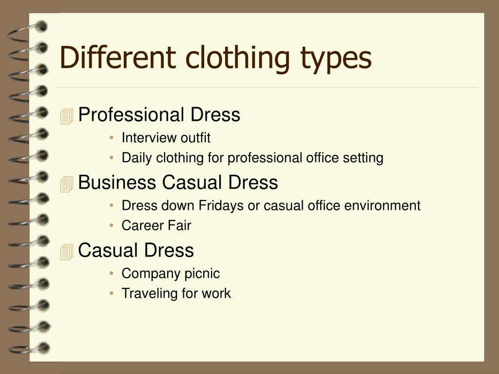 Different clothing types