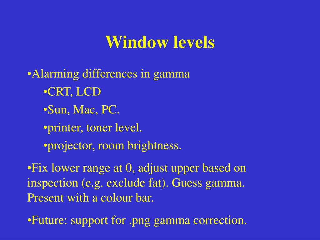 Window levels