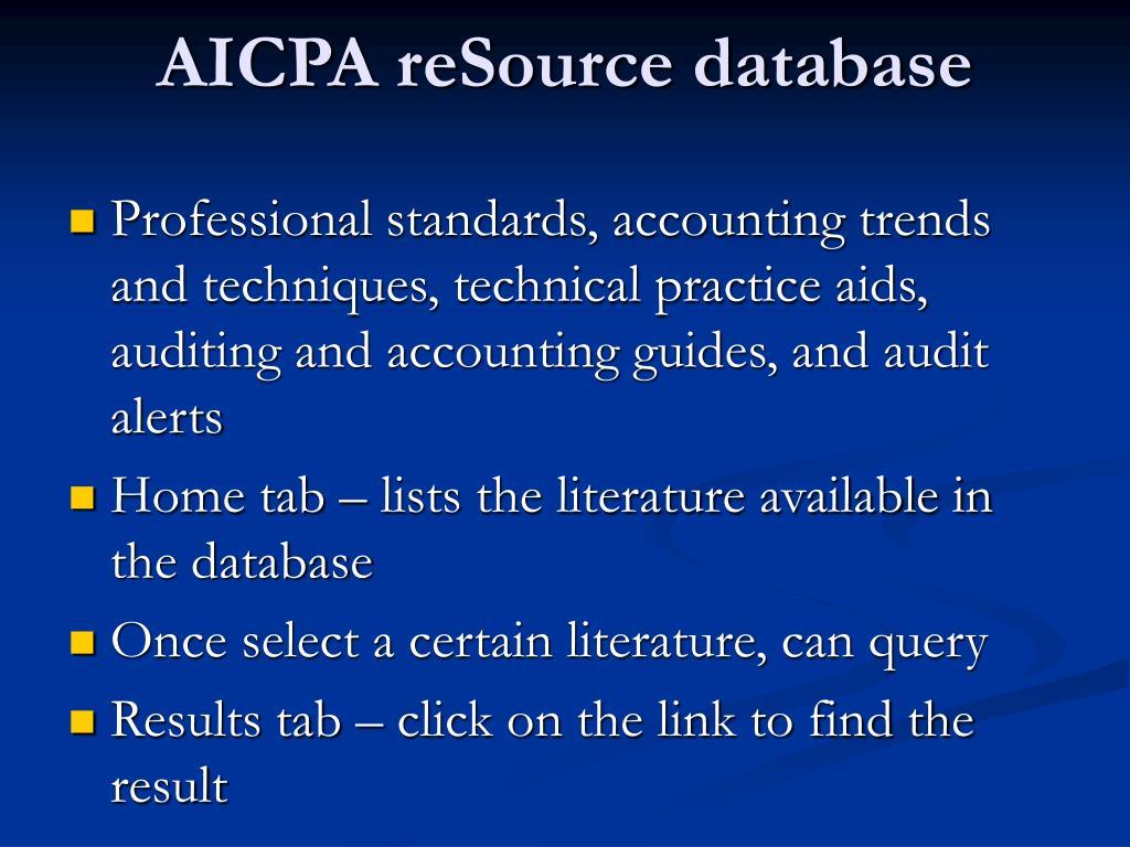 AICPA reSource database