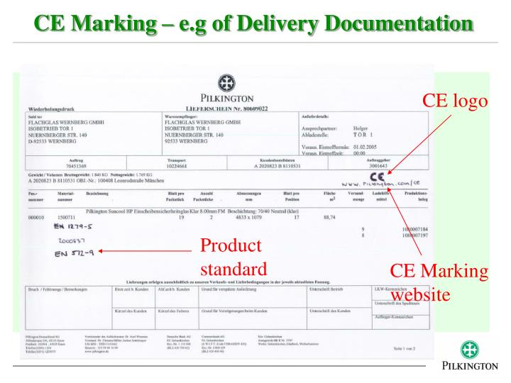 CE Marking – e.g of Delivery Documentation
