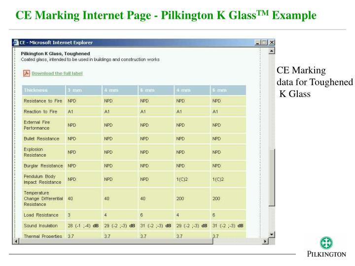 CE Marking Internet Page - Pilkington K Glass