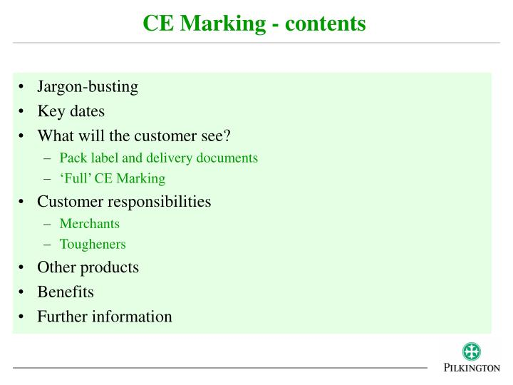 CE Marking - contents