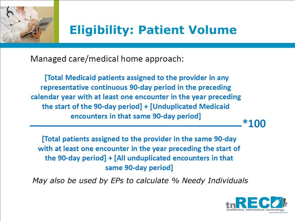 Eligibility: Patient Volume